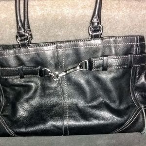 Coach Hampton Black Leather catch-all satchel